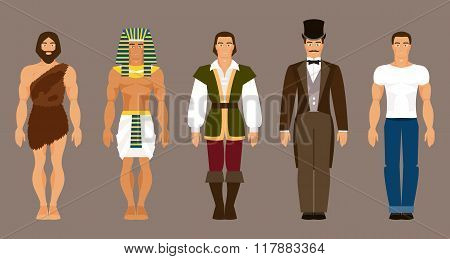 The history and evolution of mankind. The primitive man ancient Egypt medieval modern man poster