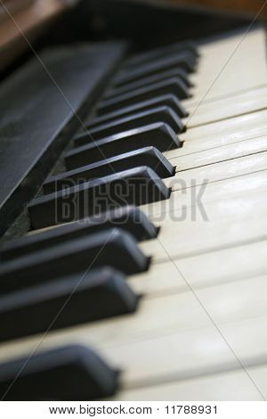 Piano Keyboard Closeup With Shallow Depth Of Field