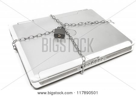 A locked and chained laptop