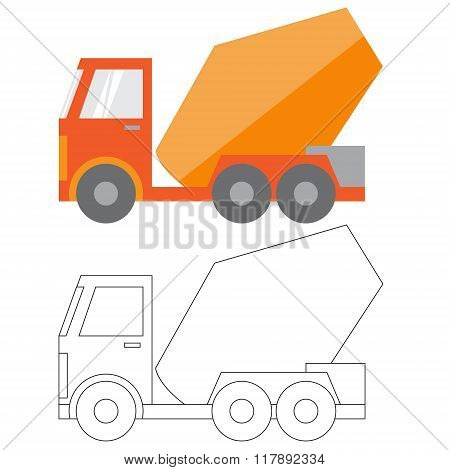 Car construction Machinery vector illustration flat icon in color and linea the mixer truck poster