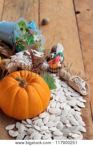 Pumpkin With Pumpkin Seeds On Wood Background.