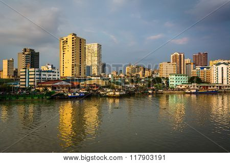 Buildings Along The Pasig River, Seen From Fort Santiago, In Intramuros, Manila, The Philippines.