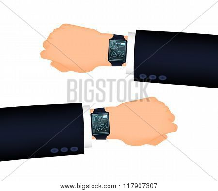 Mans hand right and left with smart watch