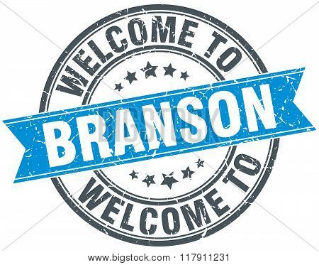 welcome to Branson blue round vintage stamp