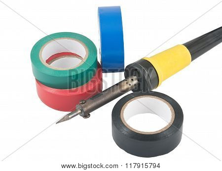 A Soldering Iron And Adhesive Plastic Tape