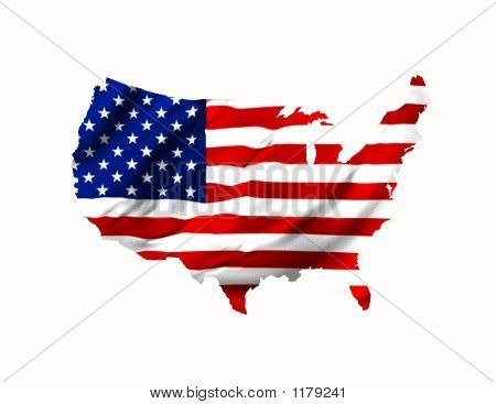 American Flag Shaped  As  Map Of  U.S.A.
