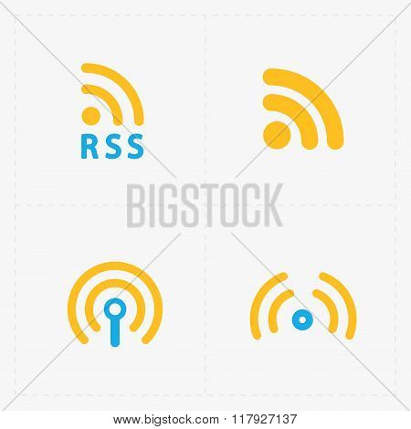RSS sign icons. RSS feed symbols on White Background.