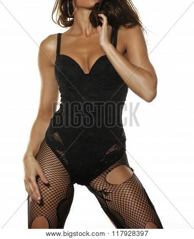 Sexy Young Woman In Lace Corset And Fishnet Stockings Isolated On White