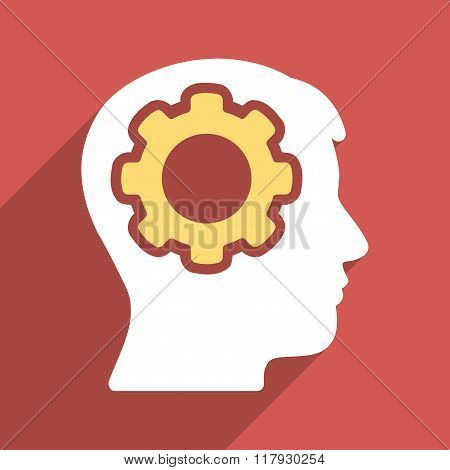 Human Mind Flat Long Shadow Square Icon