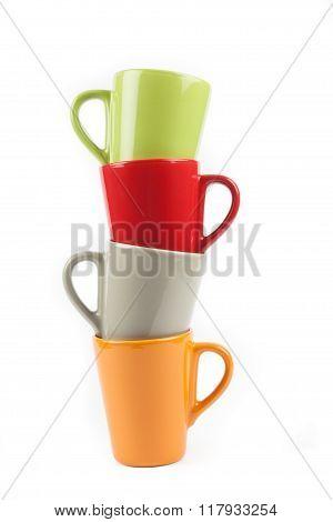 Four color tea cups