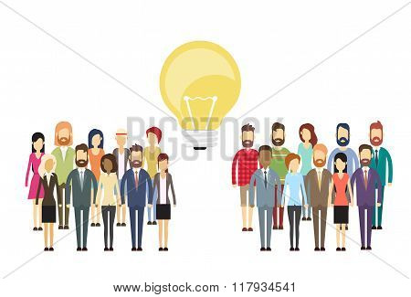 Business People Group Idea Concept Light Bulb, Businesspeople Crowd