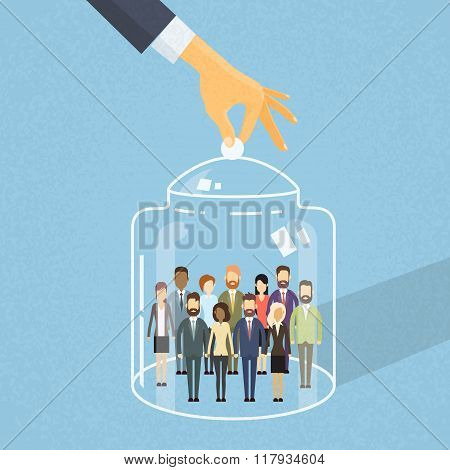 Busienss People Group Cover Under Glass Box, Businesspeople Team Captured Inside Together