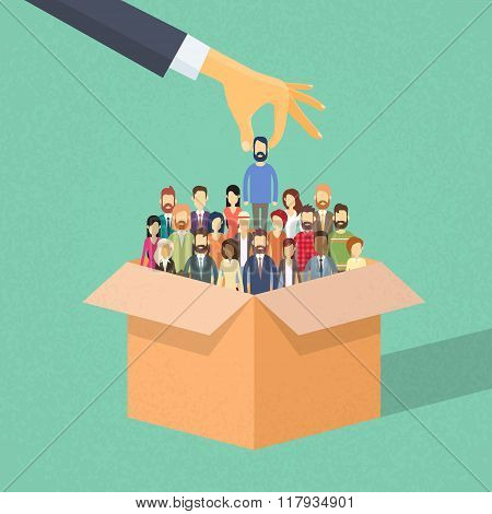 Recruitment Hand Picking Business Person Candidate from Box