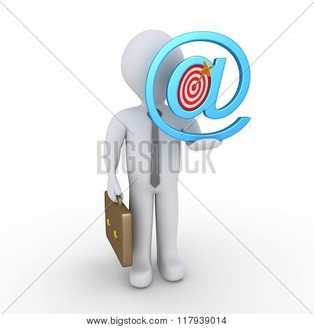Businessman Offering Online Solution