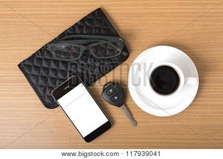 Coffee,phone,car Key,eyeglasses And Wallet