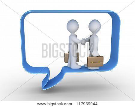 Bussinesmen Agreement Inside Speech Bubble