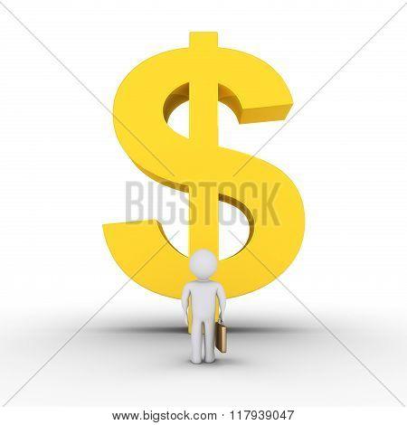 Businessman And Big Dollar Symbol