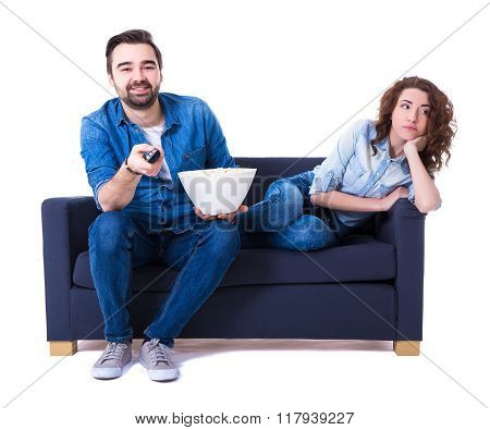 Woman Being Bored Watching Tv With Boyfriend Isolated On White