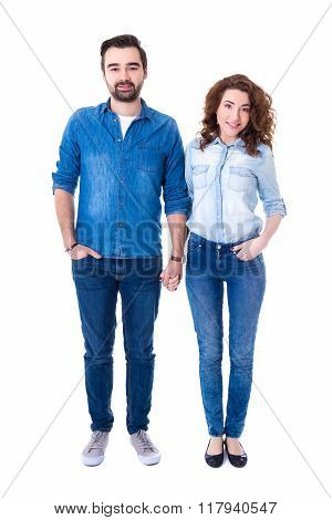 Full Length Portrait Of Happy Couple Standing Isolated On White
