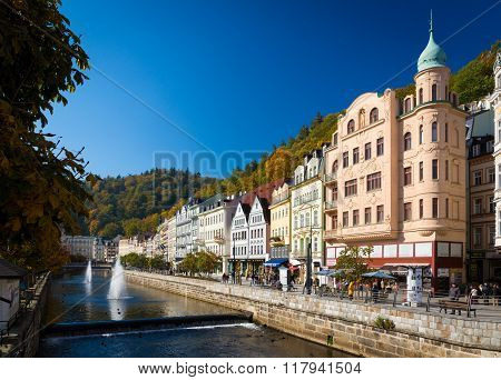 CARLSBAD CZECH REPUBLIC - OCTOBER 10 2015 - The historic city of Carlsbad is one of the most famous spa towns in Europe