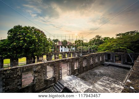 Sunset Over The Ruins Of The Walls At Fort Santiago, In Intramuros, Manila, The Philippines.