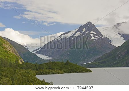 Mountains And Glaciers In A Remote Valley