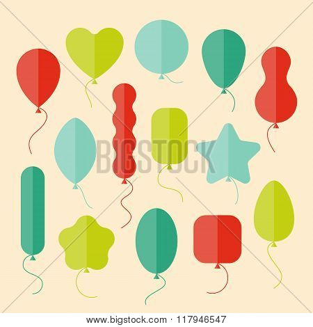 Vector Icon Set Of Balloons Of Different Shapes In Flat Style