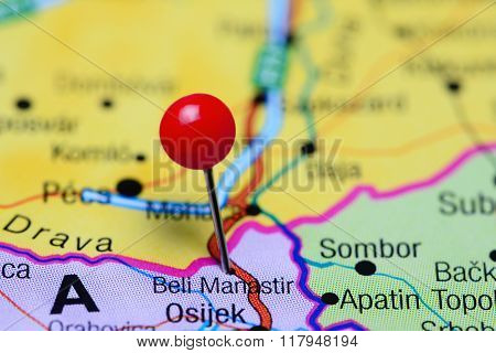 Beli Manastir pinned on a map of Croatia