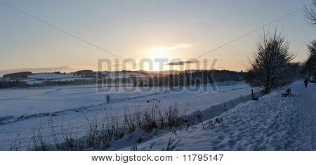 sunset in wintery aberdeenshire 2010