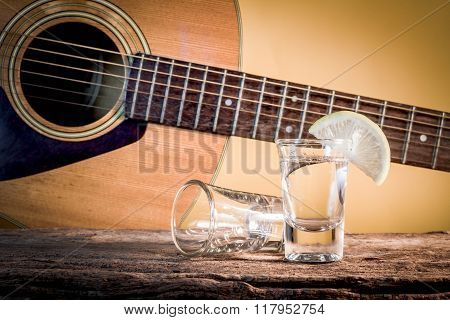 Glass Of Vodka And Classical Guitar.
