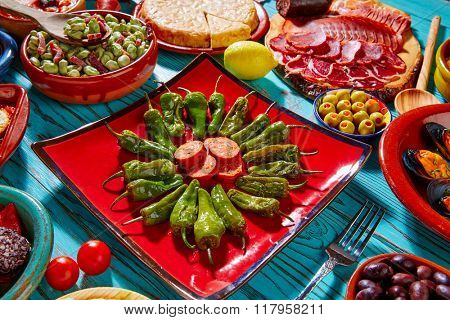 Tapas pimientos del Padron green peppers with sausage and mixed tapa