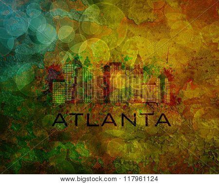 Atlanta City Skyline On Grunge Background Illustration