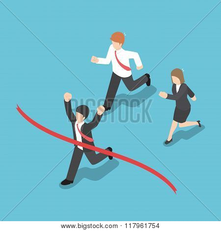 Isometric Design Businessman Winning Competition And Crossing The Finish Line
