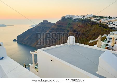 SANTORINI, GREECE - AUGUST 07, 2015: view of the Santorini caldera at evening. Santorini caldera is a large, mostly submerged caldera, located in the southern Aegean Sea