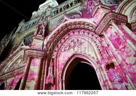 ORLEANS, FRANCE - AUGUST 11, 2015: Orleans Cathedral at night. Orleans Cathedral is a Gothic Catholic cathedral in the city of Orleans, France.