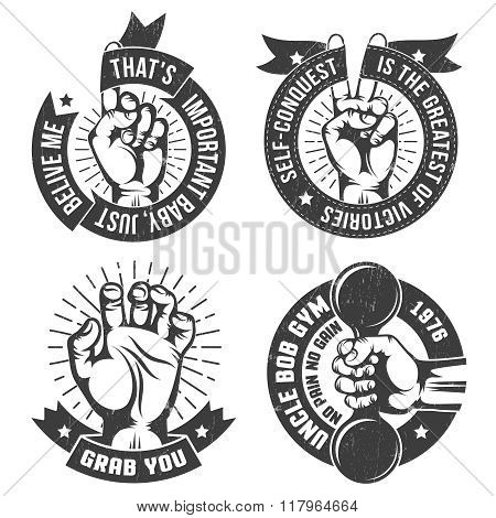 Vintage logo with hand