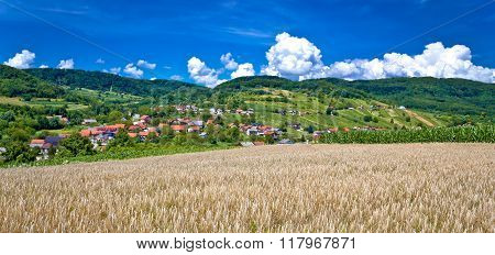 Agricultural Landscape And Village By The Hill