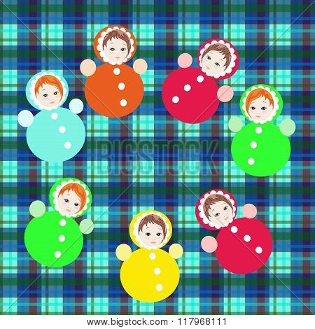 Bright Colorful Roly-poly Toys On Checkered Background. Childish Vector Illustration.