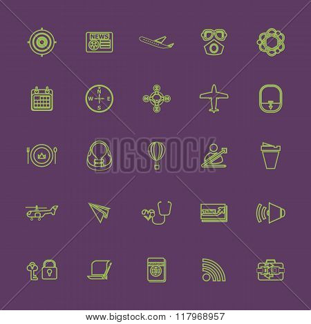 Air Transport Related Line Color Icons