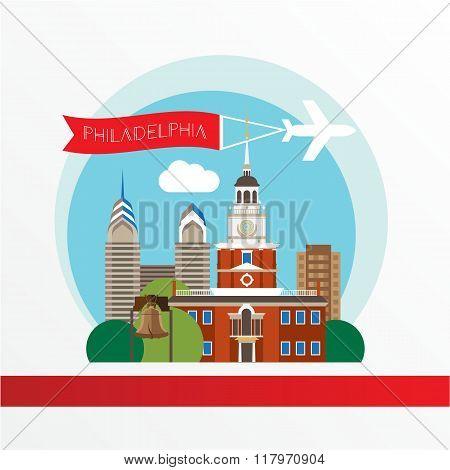 Philadelphia, detailed silhouette. Trendy vector illustration, flat style. Stylish colorful  landmar