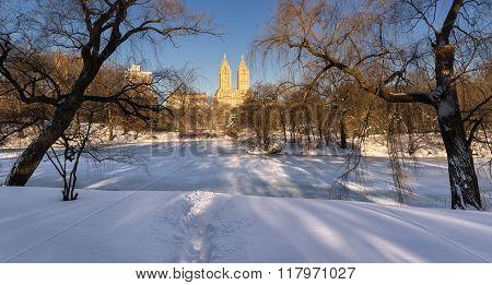 Winter Sunrise On Frozen Lake, Central Park, New York City