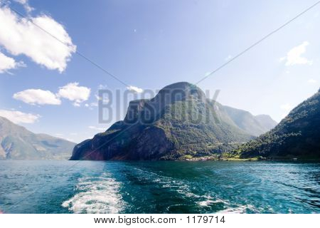 fjord scenic from the pass between aurlandsfjord and naeroyfjord (n?r?yfjord) in sognefjord norway poster