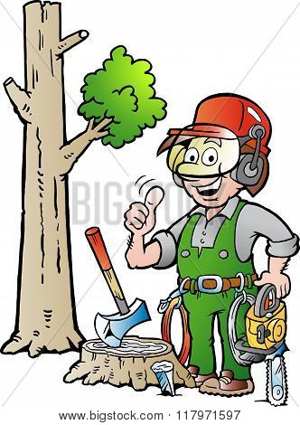 Vector Cartoon Illustration Of A Happy Working Lumberjack Or Woodcutter Giving Thumb Up