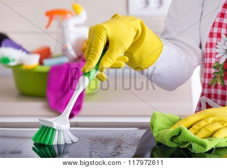 Cleaning Kitchen Concept