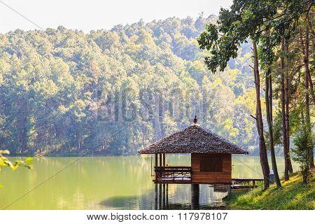 Serene lodging house beside the lake at Pang Ung (Pang Tong reservoir) Mae Hong Son province, Thailand poster