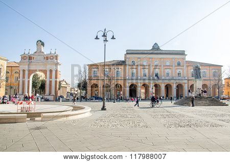 Rimini,  Italy - January 26, 2013 - People Walk In Ganganelli Square N  Santarcangelo Di Romagna Tow