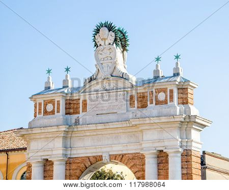 Rimini,  Italy - January 26, 2013 - Clemente Pope Ganganelli's Triumphal Arch Details  In Santarcang