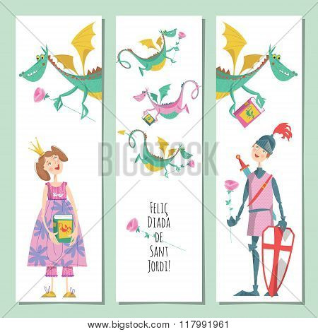 Set Of Universal Cards With Princess, Knight  And Dragon. Diada De Sant Jordi (the Saint George's Da