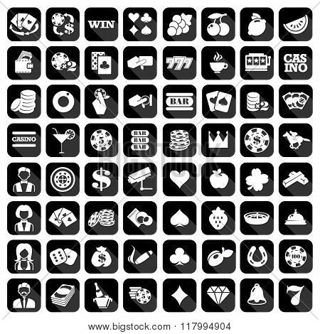 Big set of flat casino icons.