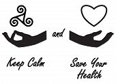 Keep calm and save your health stickers. Stickers. Keep calm sticker. Relax stickers. Triskele sticker. Heart stickers. Hand stickers. Stickers with text. Stickers for your life. Stickers for you. poster